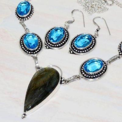 Lb 0723b collier boucles oreilles parure labradorite topaze bleue achat vente bijou argent 925