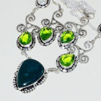 Lb 0724b collier boucles oreilles parure labradorite peridot perle nacre triskel bijou argent 925