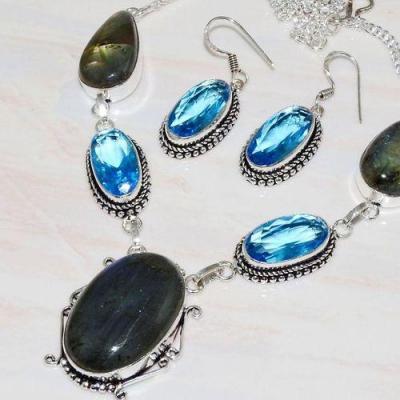 Lb 0725b collier boucles oreilles parure labradorite topaze bleue achat vente bijou argent 925