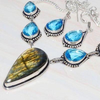 Lb 0726b collier boucles oreilles parure labradorite topaze bleue achat vente bijou argent 925