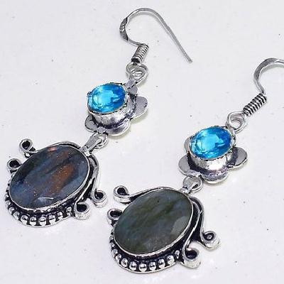 Lb 0734c boucles pendant oreilles paire 12gr labradorite bleue achat vente bijou argent 925