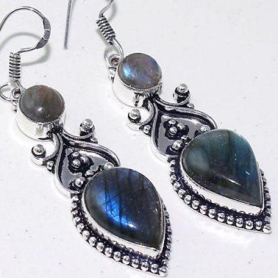 Lb 0735c boucles pendant oreilles paire 15gr labradorite bleue achat vente bijou argent 925