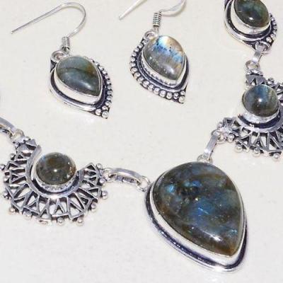 Lb 0737c collier boucles paire pendant oreilles 38gr labradorite achat vente bijou argent 925
