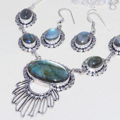 Lb 0738b collier boucles paire pendant oreilles 36gr labradorite achat vente bijou argent 925