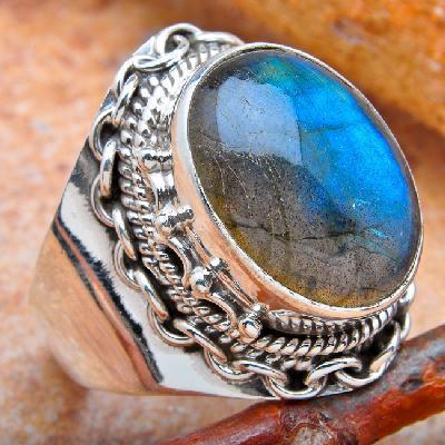 Lb 0783a bague chevaliere t57 labradorite 8gr 12x16mm achat vente bijou argent 926