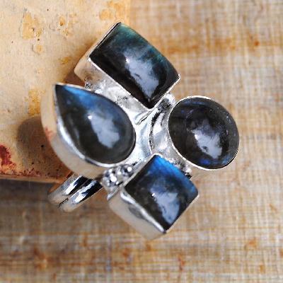 Lb 0790a bague chevaliere t57 labradorite 10gr 8x12mm achat vente bijou argent 925
