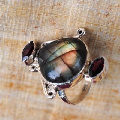 Lb 0791b bague chevaliere t51 labradorite 9gr 18x18mm achat vente bijou argent 925