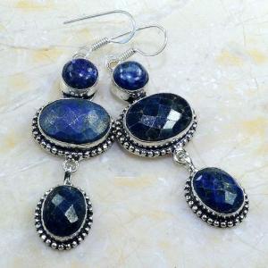 Lpc 143a boucles pendants oreilles lapis lazuli ethnique afghanistan achat vente bijou argent 925