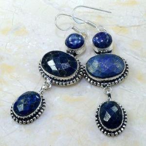 Lpc 143b boucles pendants oreilles lapis lazuli ethnique afghanistan achat vente bijou argent 925