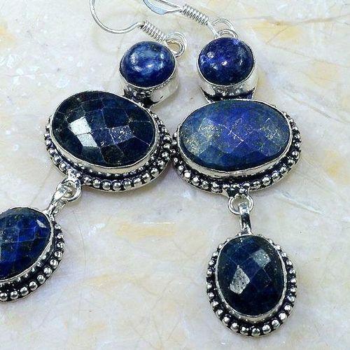 Lpc 143c boucles pendants oreilles lapis lazuli ethnique afghanistan achat vente bijou argent 925