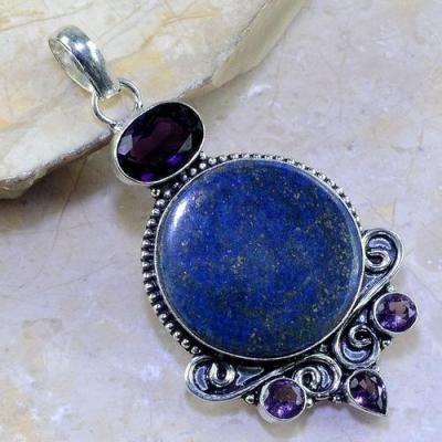 Lpc 146a pendentif pendant lapis lazuli amethyste bijou ethnique afghan argent 925 achat vente