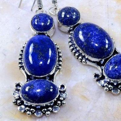 Lpc 149c boucles pendants oreilles lapis lazuli ethnique afghanistan achat vente bijou argent 925