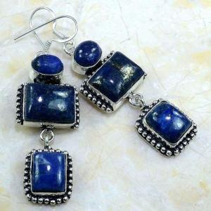 Lpc 150a boucles pendants oreilles lapis lazuli ethnique afghanistan achat vente bijou argent 925