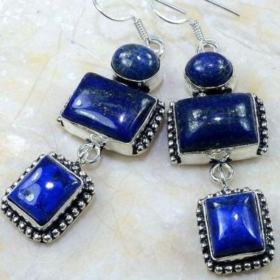 Lpc 150d boucles pendants oreilles lapis lazuli ethnique afghanistan achat vente bijou argent 926