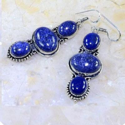 Lpc 152a boucles pendants oreilles lapis lazuli ethnique afghanistan achat vente bijou argent 925
