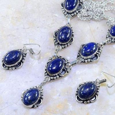 Lpc 153b parure collier boucles pendants oreilles lapis lazuli ethnique achat vente argent 925