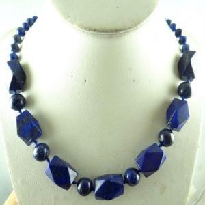 Lpc 196a collier sautoir lapis lazuli bleu bijou ethnique argent 925 achat vente