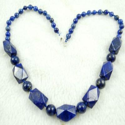 Lpc 196b collier sautoir lapis lazuli bleu bijou ethnique argent 925 achat vente
