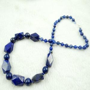 Lpc 196c collier sautoir lapis lazuli bleu bijou ethnique argent 925 achat vente