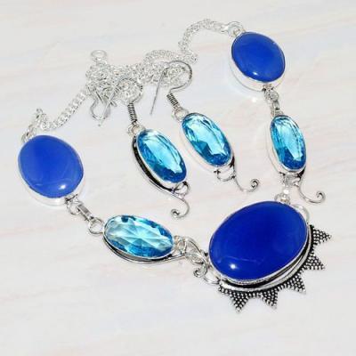 Lpc 206a collier boucles oreilles lapis lazuli topaze bleu bijou afghanistan argent 925 achat vente