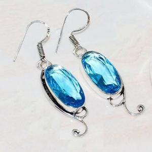 Lpc 206c collier boucles oreilles lapis lazuli topaze bleu bijou afghanistan argent 925 achat vente