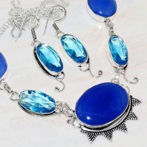 Lpc 206d collier boucles oreilles lapis lazuli topaze bleu bijou afghanistan argent 925 achat vente 1