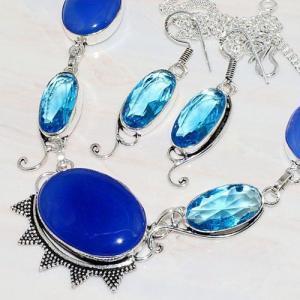 Lpc 206d collier boucles oreilles lapis lazuli topaze bleu bijou afghanistan argent 925 achat vente
