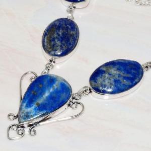 Lpc 218b collier sautoir parure 34gr lapis lazuli bijou ethnique afghan argent 925 achat vente