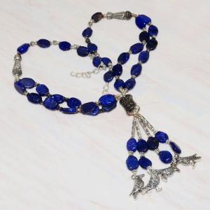 Lpc 224a collier sautoir parure 70gr lapis lazuli chouettes ethnique argent 925 achat vente