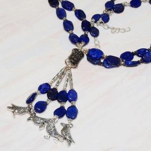 Lpc 224b collier sautoir parure 70gr lapis lazuli chouettes ethnique argent 925 achat vente