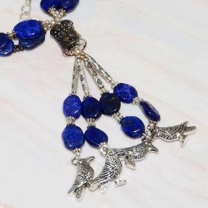 Lpc 224c collier sautoir parure 70gr lapis lazuli chouettes ethnique argent 925 achat vente