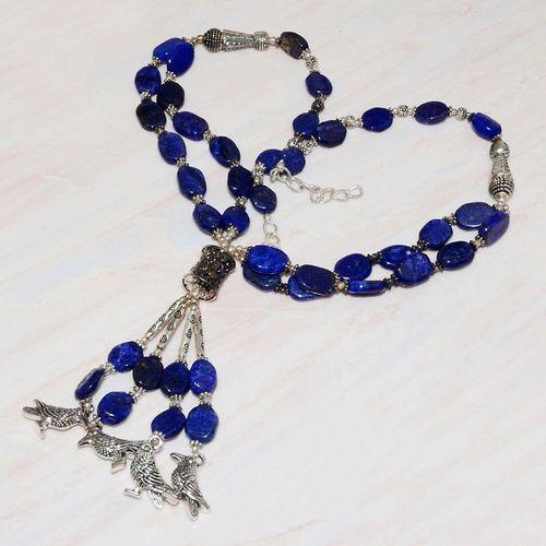 Lpc 224d collier sautoir parure 70gr lapis lazuli chouettes ethnique argent 925 achat vente