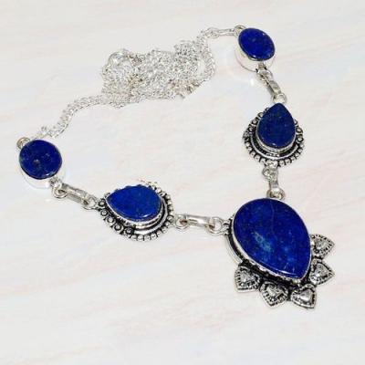 Lpc 229a collier sautoir parure lapis lazuli bijou ethnique tibet afghan argent 925 achat vente