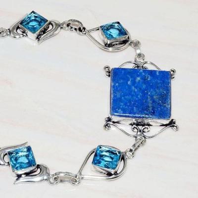Lpc 231b bracelet lapis lazuli bleu topaze bijou ethnique afghanistan argent 925 achat vente