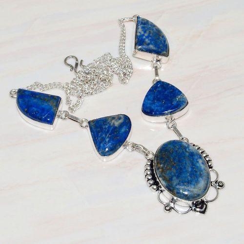 Lpc 232a collier sautoir parure lapis lazuli bijou ethnique tibet afghan argent 925 achat vente