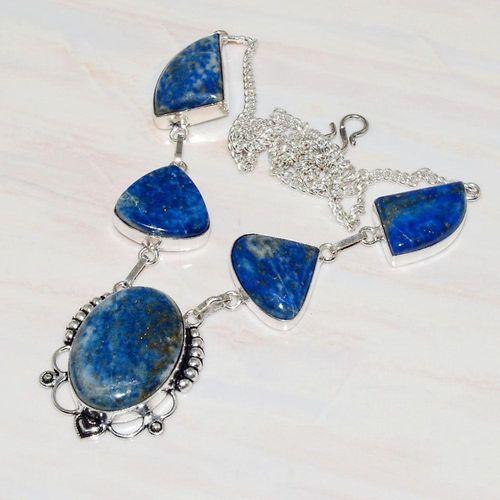 Lpc 232d collier sautoir parure lapis lazuli bijou ethnique tibet afghan argent 925 achat vente