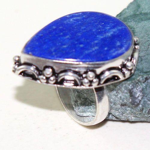 Lpc 233a bague chevaliere t55 lapis lazuli 20x28mm bijou ethnique afghan argent 925 achat vente