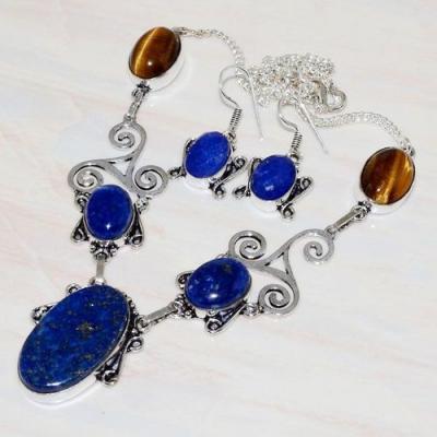 Lpc 234d collier boucles oreilles lapis lazuli bleu bijou ethniqueafghanistan argent achat vente