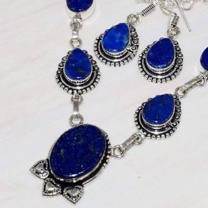 Lpc 236b collier boucles oreilles lapis lazuli bijou ethnique afghanistan argent achat vente