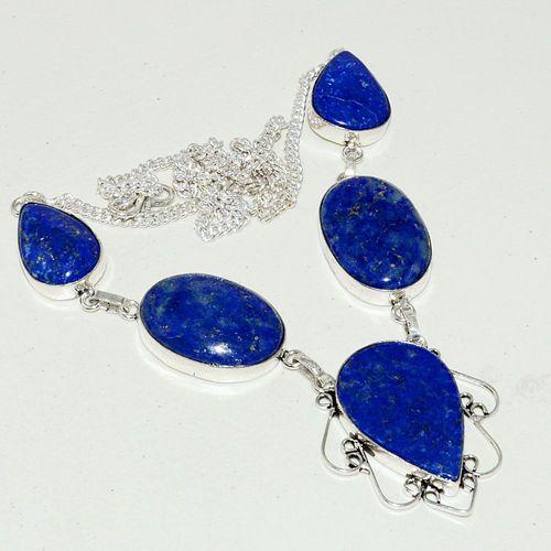Lpc 265a collier sautoir parure 34gr lapis lazuli bijou ethnique afghan argent 925 achat vente