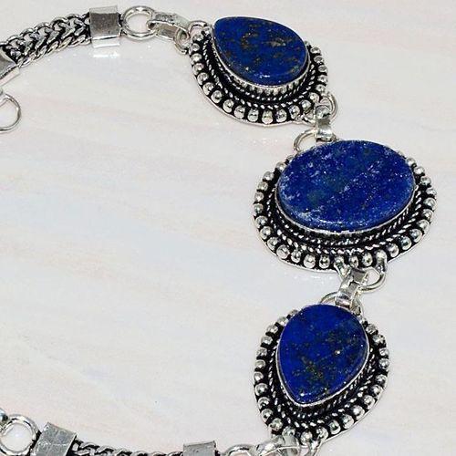 Lpc 273c bracelet lapis lazuli 20x15mm egyptien afghan bijou argent 925 achat vente