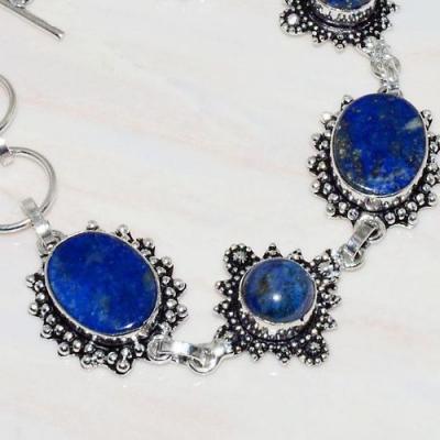 Lpc 274b bracelet 23gr lapis lazuli 10x15mm egyptien afghan bijou argent 925 achat vente