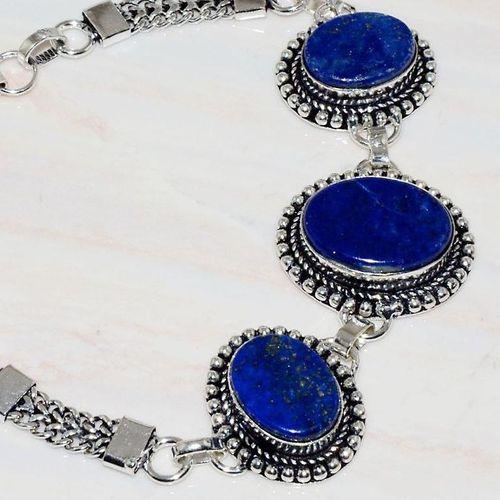 Lpc 277c bracelet 25gr lapis lazuli 25mm egyptien afghan bijou argent 925 achat vente