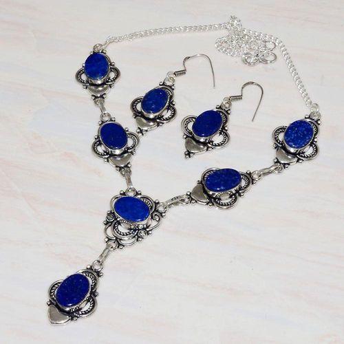 Lpc 285d collier boucles oreilles lapis lazuli 39gr topaze bleu afghan argent 925 achat vente