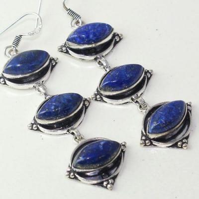 Lpc 287c boucles pendant oreilles 19gr lapis lazuli bijou ethnique argent achat vente