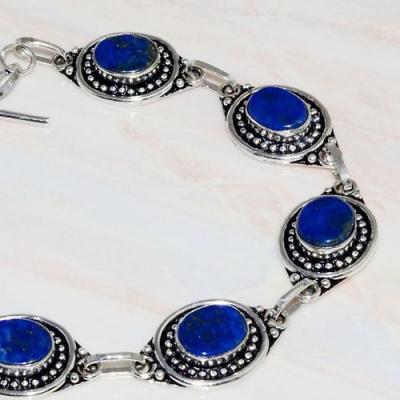Lpc 288b bracelet 22gr lapis lazuli 10x15mm egyptien afghan bijou argent 925 achat vente