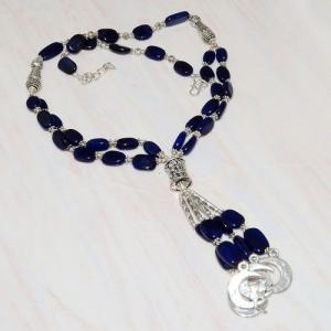 Lpc 290a collier sautoir parure 65gr lapis lazuli croissant ethnique afghan argent achat vente