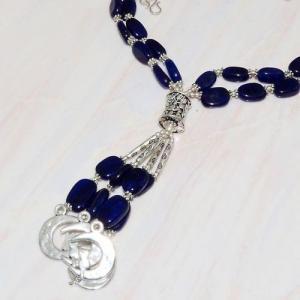 Lpc 290b collier sautoir parure 65gr lapis lazuli croissant ethnique afghan argent achat vente