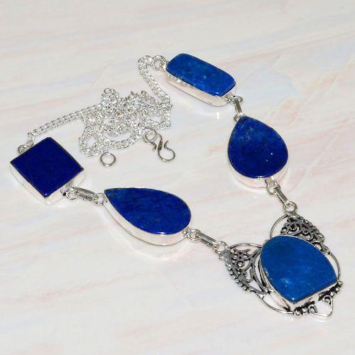 Lpc 291a collier sautoir parure 34gr lapis lazuli bijou ethnique afghan argent achat vente