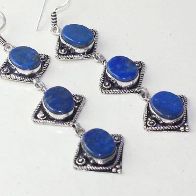 Lpc 293c boucles pendant oreilles 19gr lapis lazuli bijou ethnique argent achat vente